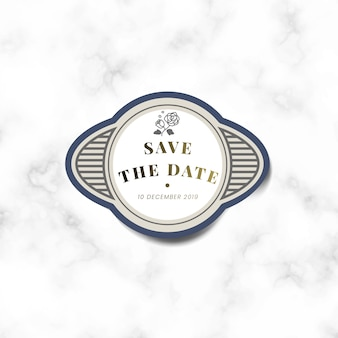 Save the date wedding invitation vintage sticker label