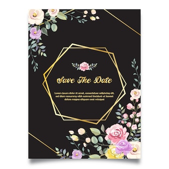 Save the date wedding invitation with black background