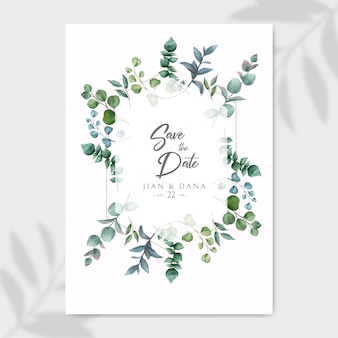 Save the date and wedding invitation with eucalyptus leaves