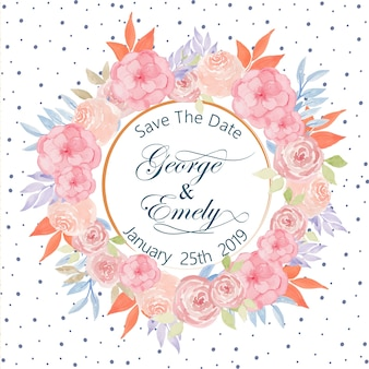 Save the date wedding invitation with watercolor floral