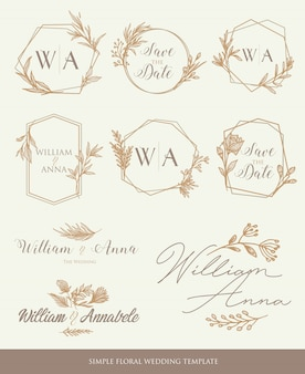 Save the date wedding template decorative elements