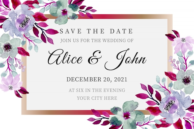 Save the date. wedding template with floral watercolor
