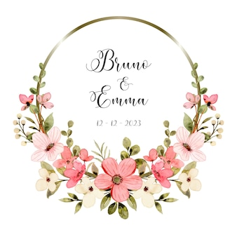 Save the date white pink floral watercolor with circle
