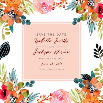 Save the date with autumn floral frame watercolor
