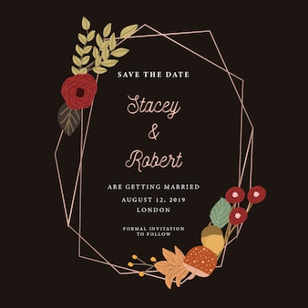 Save the date with autumn floral and geometric frame