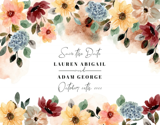 Save the date with autumn floral watercolor frame