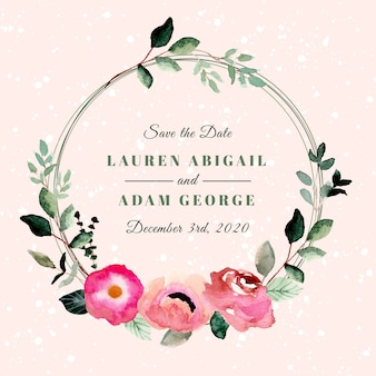 Save the date with beautiful floral wreath watercolor