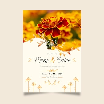 Save the date with beautiful golden flowers