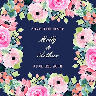 Save the date with beautiful watercolor floral frame