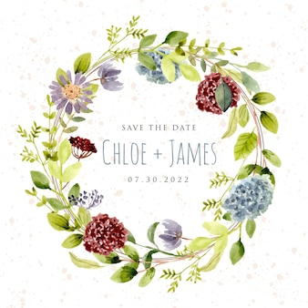 Save the date with beautiful watercolor flower wreath