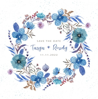 Save the date with blue flower wreath watercolor