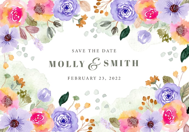 Save the date with colorful floral and splash watercolor
