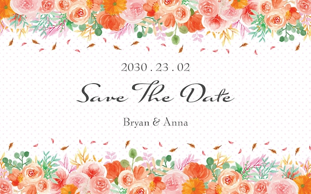 Save the date with elegant watercolor flowers