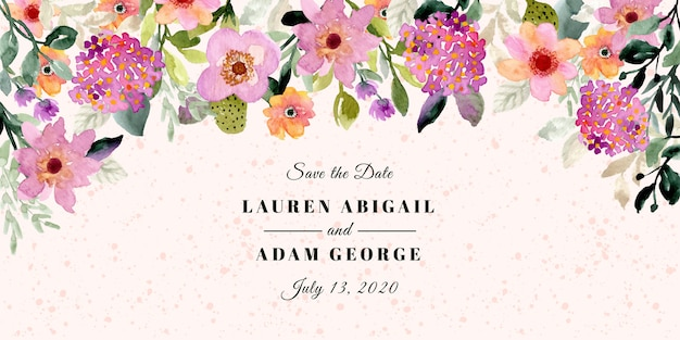 Save the date with floral frame watercolor card
