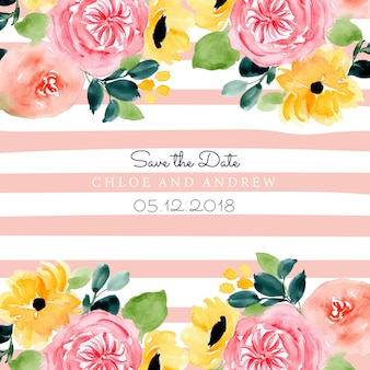 Save the date with floral watercolor and line background
