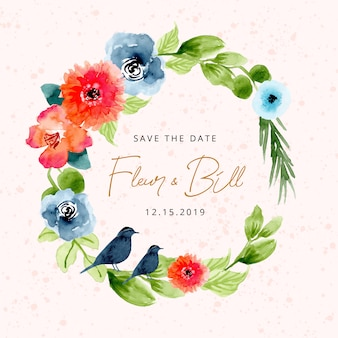 Save the date with lovely watercolor floral wreath