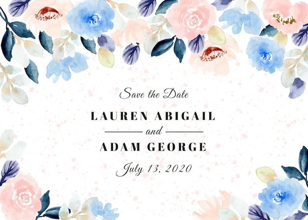 Save the date with pastel floral watercolor frame
