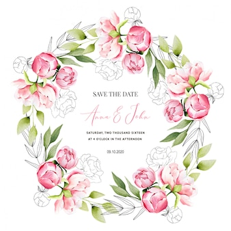 Save the date with peony wedding invitation