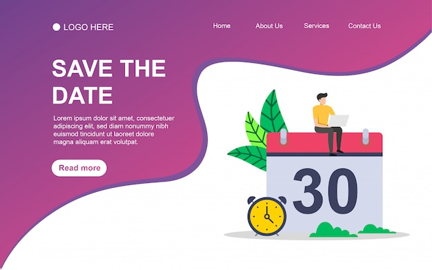 Save the date  with people character for web landing page template.