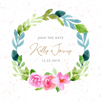 Save the date with pink green floral watercolor wreath