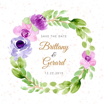 Save the date with purple watercolor floral wreath