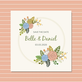 Save the date with simple rose