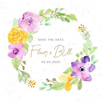 Save the date with watercolor flower wreath