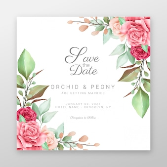 Save the date with watercolor flowers border decoration