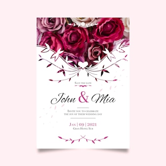 Save the date with with bouquet of roses