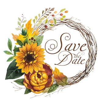 Save the date with wreath sunflower watercolor