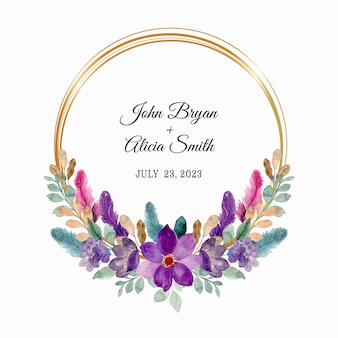 Save the date. wreath of purple flowers and feathers with watercolor