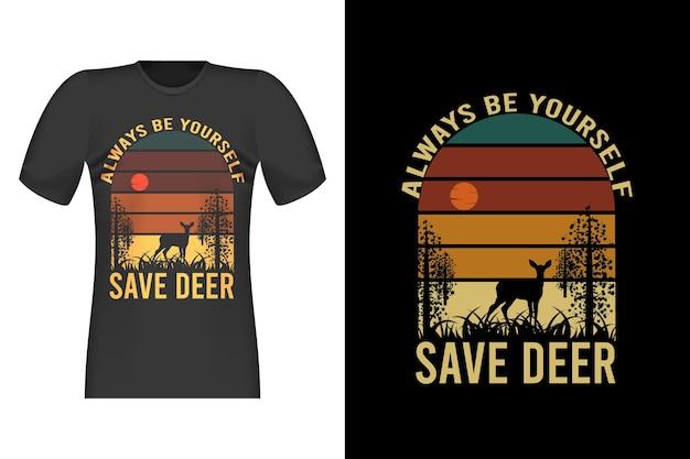 Сохранить силуэт оленя ретро винтаж дизайн футболки