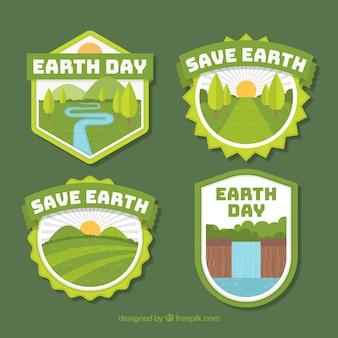 Salva i distintivi della terra per il giorno della terra