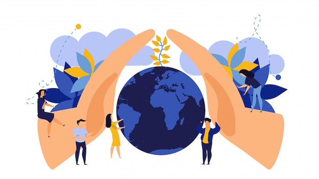 Save earth day concept illustration flat design. modern people protection environment plant nature.
