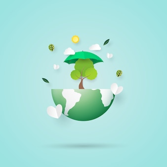 Save the earth and eco friendly concept paper art style