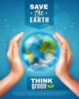 Save earth ecology poster