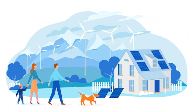地球生態技術図を保存します。環境にやさしい家、エコソーラーパネルを使用している家族の人々、白の生態学的な再生可能エネルギーの風車のある漫画の風景