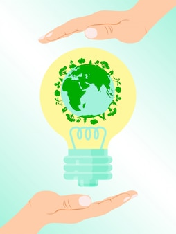 Save earth energy, people hand hold bulb with green earth  illustration. modern eco energy source, green ground force.