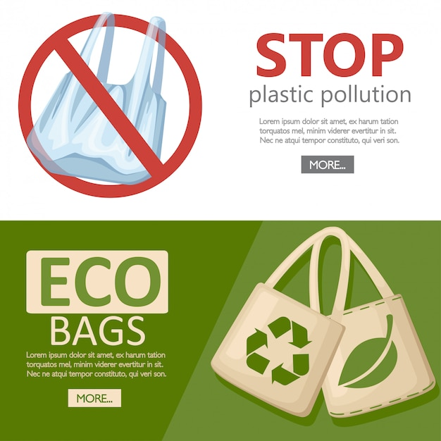 Save ecology concept. fabric cloth or paper bag. bags with recycling, green leaf and eco symbols. replacement plastic bags. save earth ecology.   illustration on white background