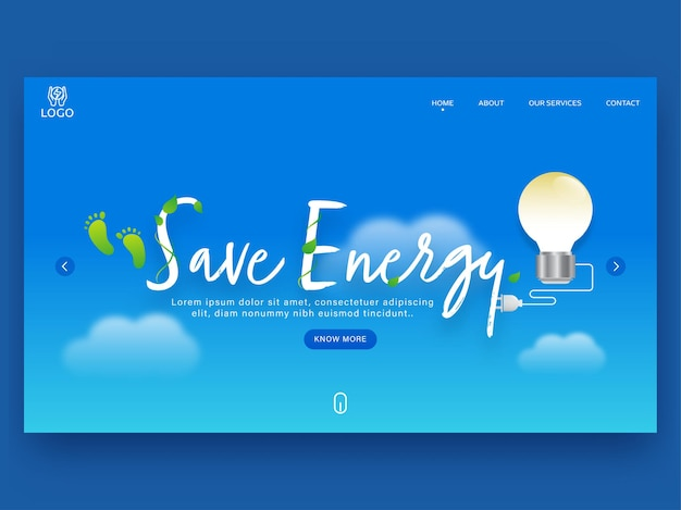Save energy landing page design with light bulb on blue