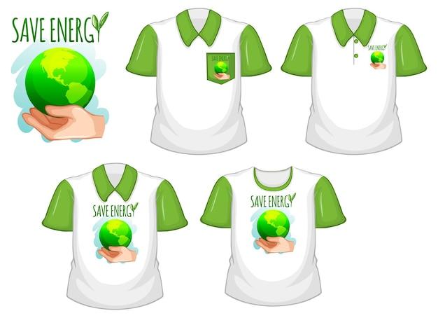 Risparmia energia logo e set di diverse camicie bianche con maniche corte verdi isolate su bianco