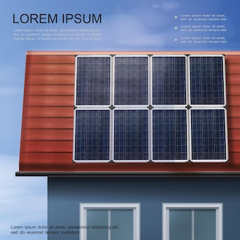 Save energy modern colorful poster with solar panels on roof of eco house in realistic style