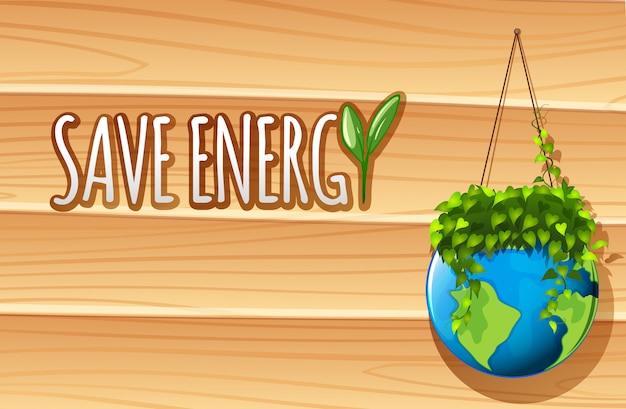 Save energy poster with globe and plants