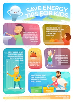 Save energy tips for kids. web infographic about how to save energy.