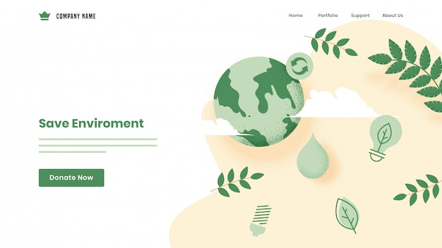 Save environment  based landing page  with earth globe, leaves and eco bulb on white .
