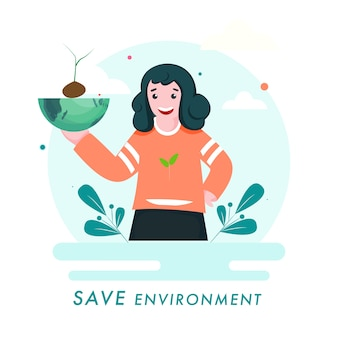 Save environment concept illustration