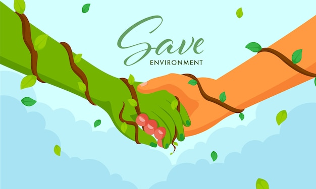 Save environment concept with handshaking between human and green hand on blue background.