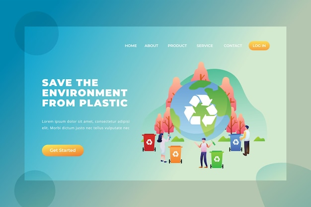 Save the environment from plastic - vector landing page