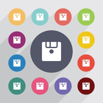 Save, flat icons set. round colourful buttons. vector