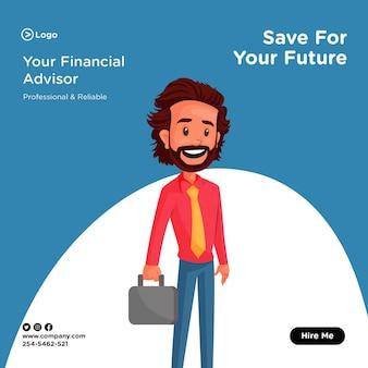 서류 가방을 들고 재정 고문과 함께 미래의 배너 디자인을 위해 저장하십시오.